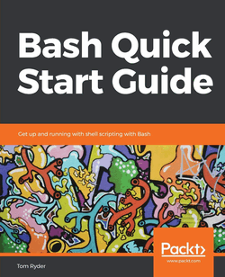 "Cover of a book entitled ""Bash Quick Start Guide"" in white on grey lettering, above an abstract graffiti design of pipe-like coral creatures"