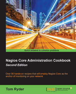 "Cover of a book entitled ""Nagios Core Administration Cookbook, Second Edition"" in white-on-black lettering, below a timelapse photograph of lights from traffic on an urban avenue"
